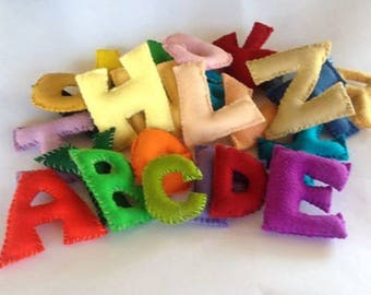Alphabet Felt Letters, Entire Alphabet, Numbers 0-9, All Natural and Eco Friendly, Waldorf Soft Plush Toy Set, Back To School
