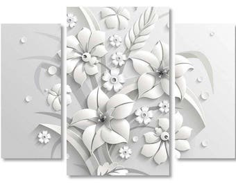 3d canvas etsy extra large 3d flowers white flowers canvas print flowers art style 3d canvas print mightylinksfo