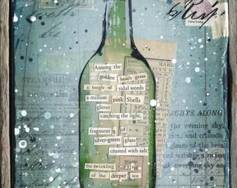 Message in a Bottle No. 23 | Original Painting | Rustic Beach Art | Word Art | Mixed Media Art | New England Art