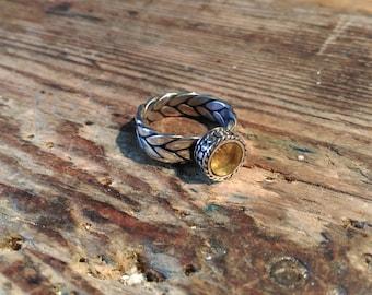 Viking ring braided silver amber