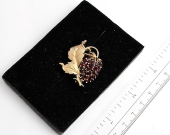 Crown Trifari  Red  Strawberry Brooch/ Pin with Ruby rhinestones  1960s #1874