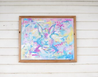 "Bunny Painting - Nursery Art - ""Hoppy"" - original painting"