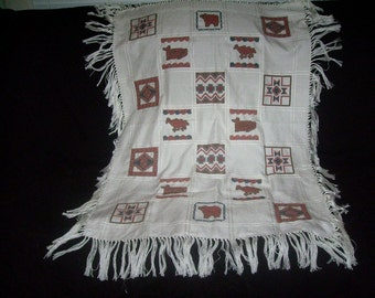 Native American Cross Stitch Anne's Cloth Throw