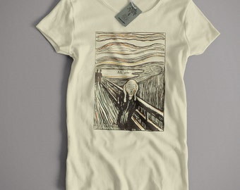 Edvard Munch T Shirt - The Scream Litho Version Fine Art Expressionst Expressionism S-5XL and Lady Fit Sizes Available Old Skool Hooligans