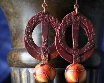 Hammered Copper Earrings, Rustic Copper Earrings Hammered Hoop Earrings Antiqued Copper Patina Tribal Earrings Wood Beads Bohemian Jewelry