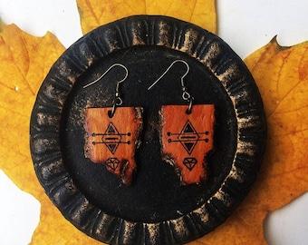 Wooden Earrings, Hand-carved Wooden Earrings, Wooden Jewelry