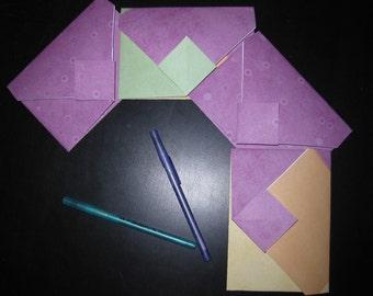 Purple Circles & Colorblock - 4 Decorative Folded Self-Closing Origami Paper Ephemera Envelopes, Dbl Thick Single Side 12x12 Scrapbook Paper