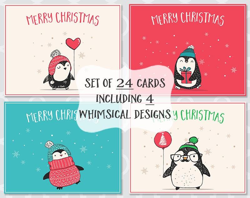 Adorable Penguin Christmas Cards Whimsical Holiday Season