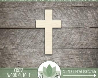 Wood Cross Shape, Unfinished Wood Cross Laser Cut Shape, DIY Craft Supply, Many Size Options, Blank Wood Shapes
