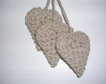 Natural hearts, crochet, double thick(3)
