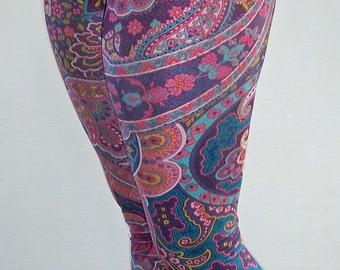 Bright Paisley Leggings, Printed Leggings, Yoga Pants, Running Pants