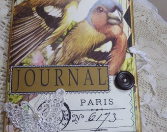 Paris No.6173 Journal, Handmade Journal, Junk Journal, OOAK Journal, Shabby Chic Journal, Diary, Faith Journal.Inspirational Journal
