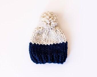 Soft Wool Color Block Pom Pom Hat, Newborn Hat, Baby Hat, Newborn Prop, Kids Beanie, Baby Gift, Chunky Wool, Chunky Knit Beanie
