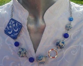 Necklace with felt beads embroidered and  azulejos fabric