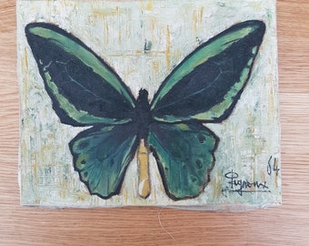 small canvas oil painting old Butterfly