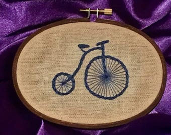 Penny Farthing Bicycle Embroidery