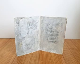 Index of Days no. 3 / Winter Trees and Grasses / Free Standing Book Page / Mixed Media Art