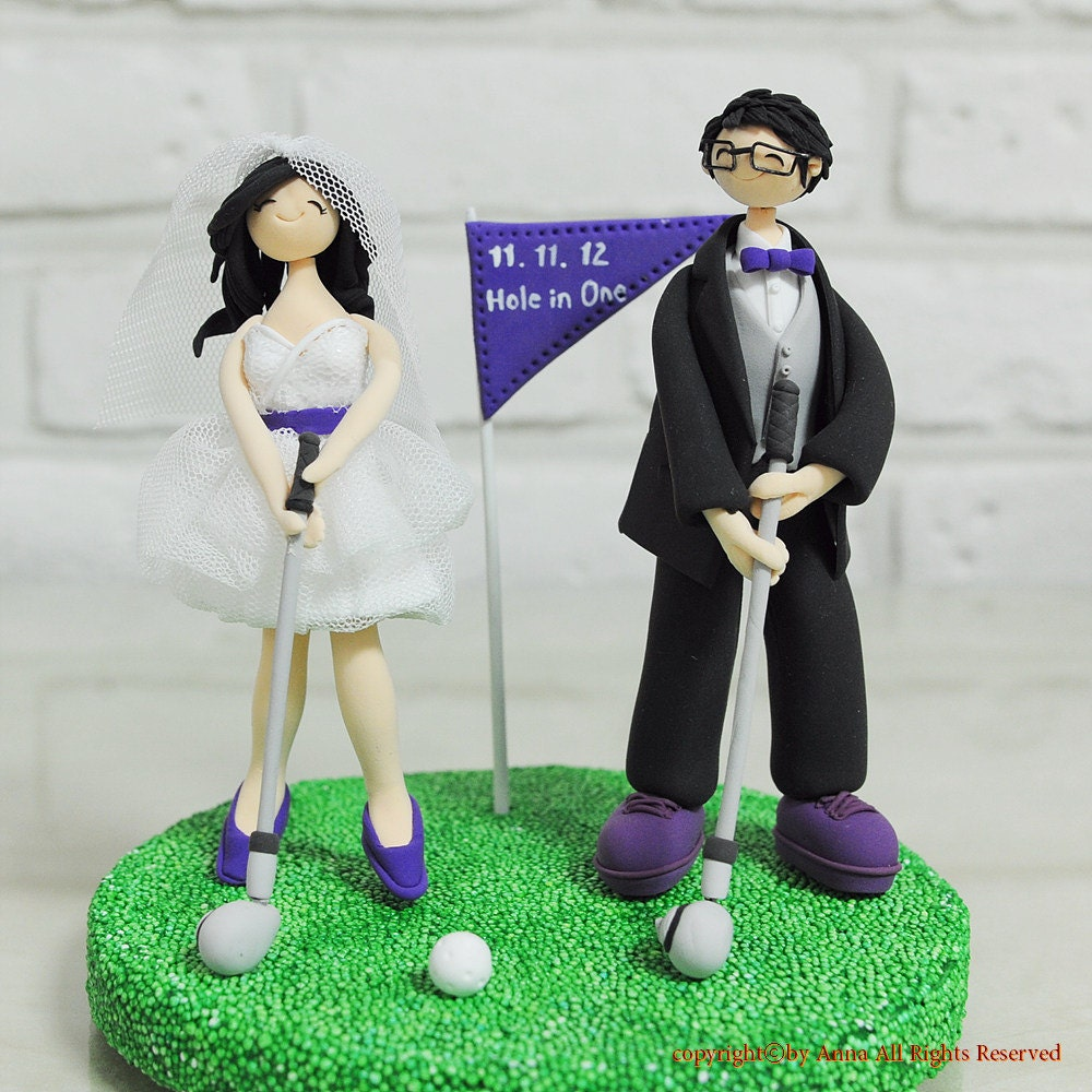 Playing golf couple custom wedding cake topper gift decoration