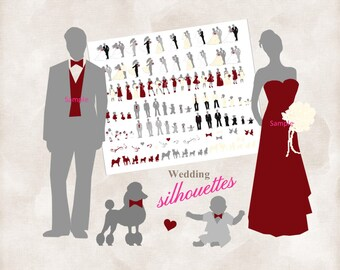 Silhouette wedding bridal party 108 Silhouettes clipart INSTANT DOWNLOAD cranberry, ivory and grey for DIY invitations and programs