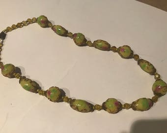 Antique hewn Czech glass bead r necklace.