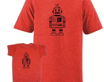 Father Son Matching Baby Robot Matching Father Son Shirts, For Dad T shirts Fathers Day present, dad baby shirt, gift for new dad, Husband