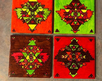 Aztec/Indianinspired Coasters- handpainted