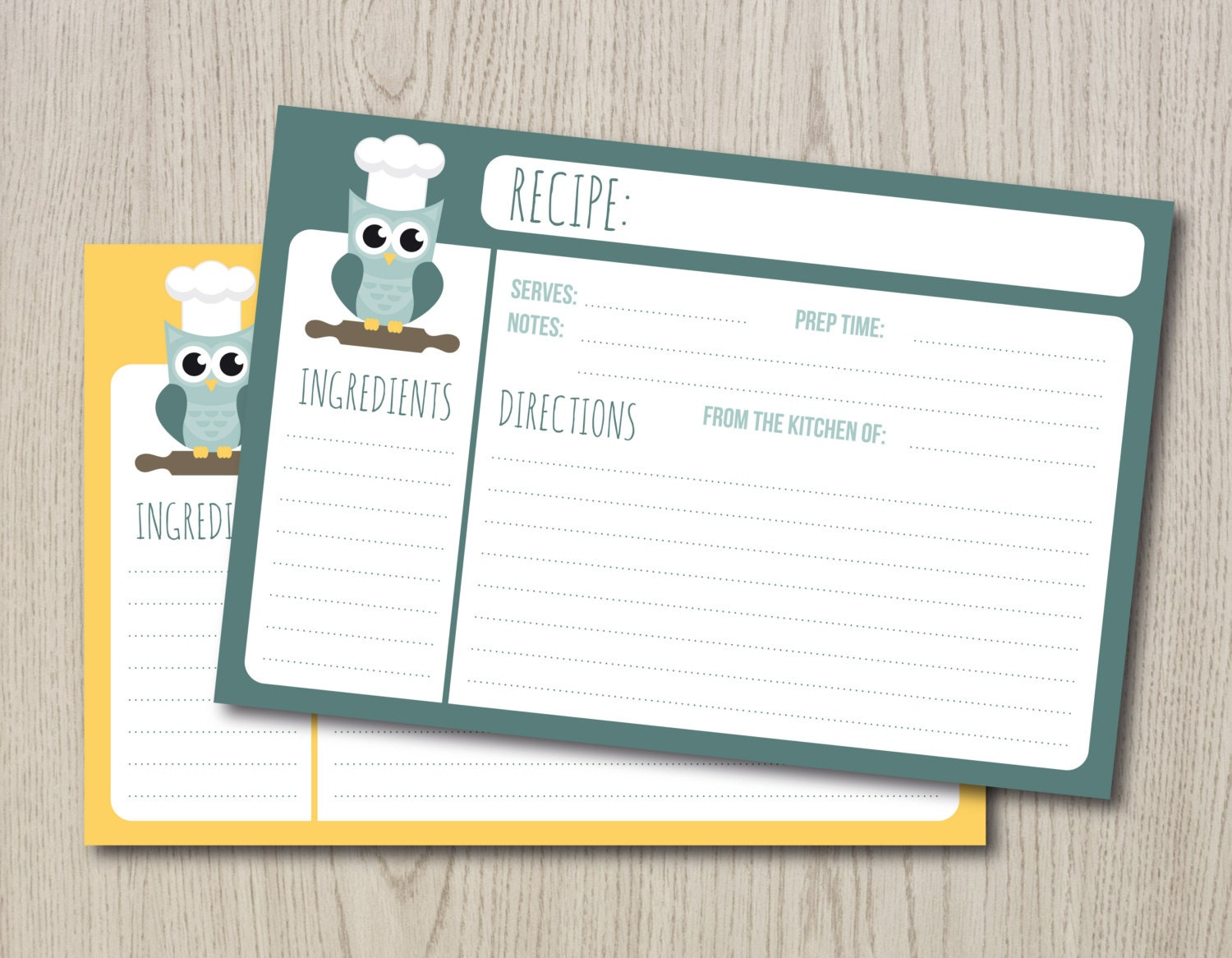 Printable Recipe Cards Two 4x6 On A4 And Letter Size