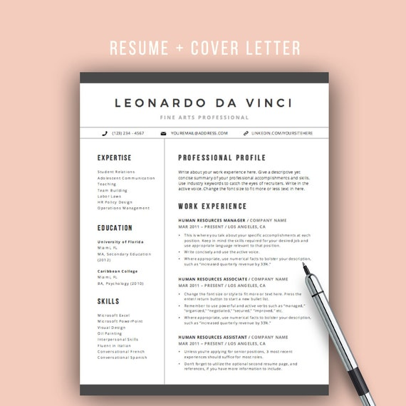 Teacher Resume Template Word | 4 Pages | Resume Icons | CV Template Cover  Letter For Word | Elementary Teacher Resume | Mac And PC