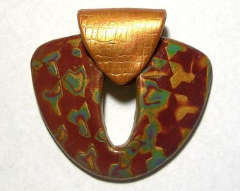 Burgundy, Teal, and Gold Shield Shaped Pendant with Gold Bail