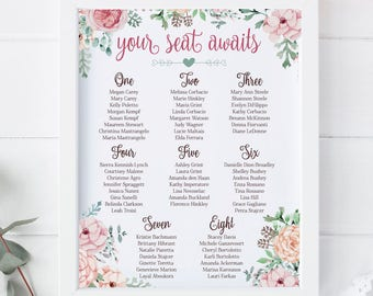 Wedding, Bridal Shower, Seating Chart, Guest List, Sign, Poster,