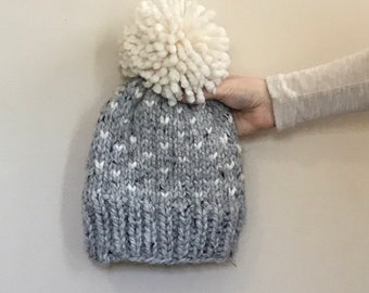 Ready to ship | Fair Isle Knit Pom Pom Ski Hat Beanie Toque | THE HICKORY |