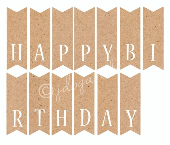 Printable Happy Birthday Cake Topper Kraft Paper Bunting