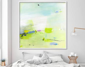 Extra large ABSTRACT GICLEE print from modern Painting, Abstract Art, Acrylic Painting, green, blue
