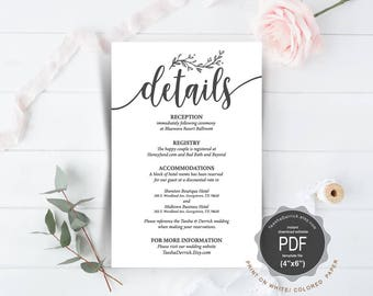 Wedding Details Card PDF template, instant download printable, editable insert card, enclosure card in rustic calligraphy theme (TED418_4)