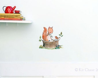 Woodland nursery, forest art, Squirrel Tea, wall decal, Kit Chase artwork, reusable