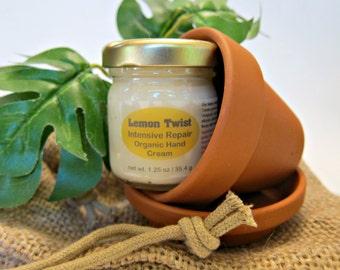 Gardener's Gift Set Lemon Twist Organic Intensive Repair Natural Hand Cream , Clay Pot , Herb Seed Packet | Dry , Sensitive Skin Relief