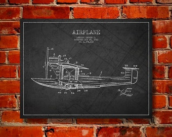 1921 Airplane Patent, Canvas Print, Wall Art, Home Decor, Gift Idea
