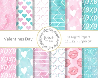 Valentines digital paper -  Valentine clipart - Scrapbook paper - Pink and Blue Watercolor Digital Paper, Commercial use