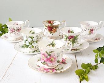 Royal Albert Mismatched Tea Cups, Vintage Teacups, Mix and Match, Bridal Shower, Tea Party Set, High Tea.