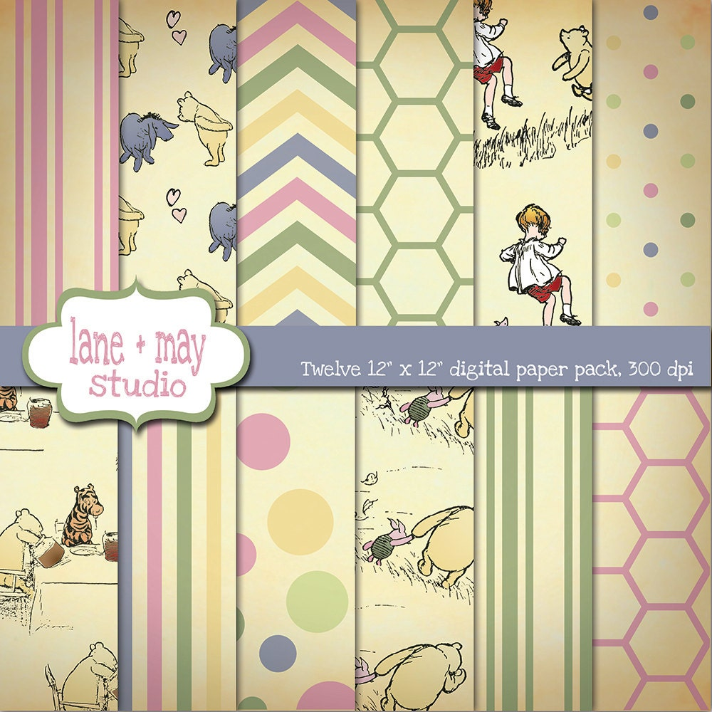 Digital Scrapbook Papers Classic Winnie The Pooh Theme