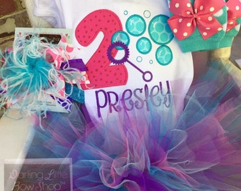 FREE SHIPPING Bubble Theme Birthday Outfit purple, turquoise, hot pink -- Bubble Bash - birthday outfit with tutu, top, leg warmers and bo