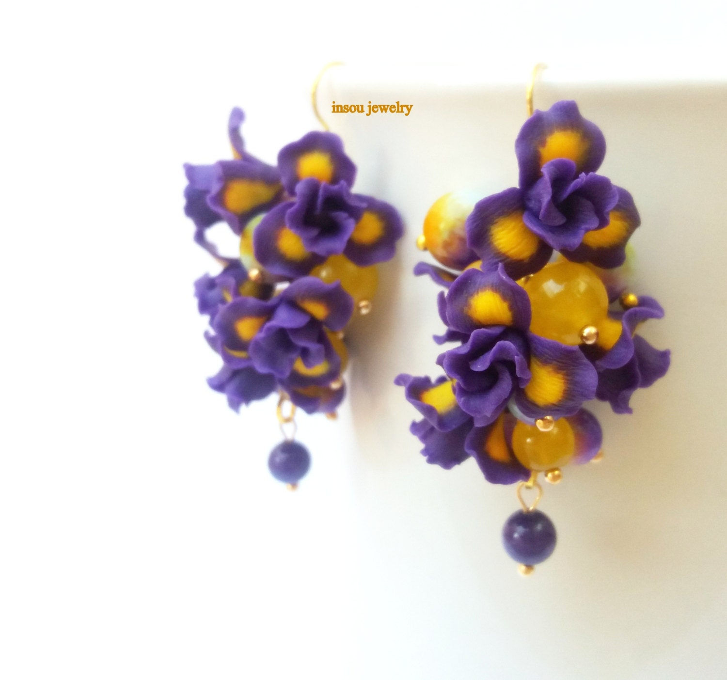 and rea beaded image purple products la drop original flower earrings jewelry more