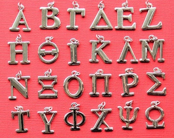 Greek Alphabet Charms 24 Letters Silver Plated Great for So Many Projects GREEK - SC6991