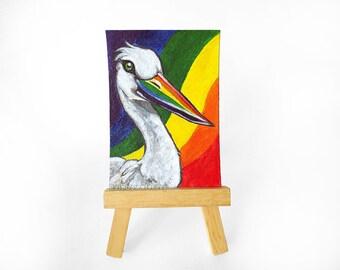 Stork Art, ACEO Original Crane Painting, Rainbow Decor, Animal Portrait, Bird Lover, Wildlife Home Decor