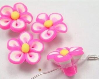 5 Piece Handmade Pink Clay Flower Bead Cabochons - Kawaii Decoden Flatback (TDK-C1548)