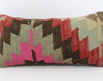 10x20 Turkish Kilim Pillow Lumbar Pillow Cover Geometric Kilim Pillow Turkish Pillow Rectangular Pillow Sofa Pillow Ethnic Case SP2550-1251