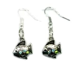 Silvertone Fish Charm Earrings