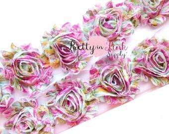 COUNTRY GARDEN Shabby Rose Trim- Shabby Flowers- 1/2 Yard or 1 Yard- Shabby Chiffon Trim- Wholesale Shabby Flowers- Flower