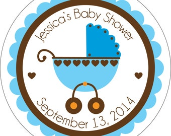 Personalized Glossy Boy (or girl/netural) Baby Shower Stickers - many designs to choose from - can change colors, wording, etc.  BR-010