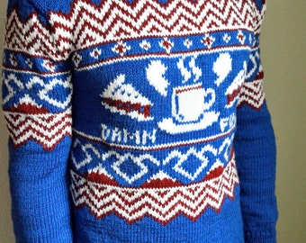 Hand knitted ''Twin Peaks'' men's sweater